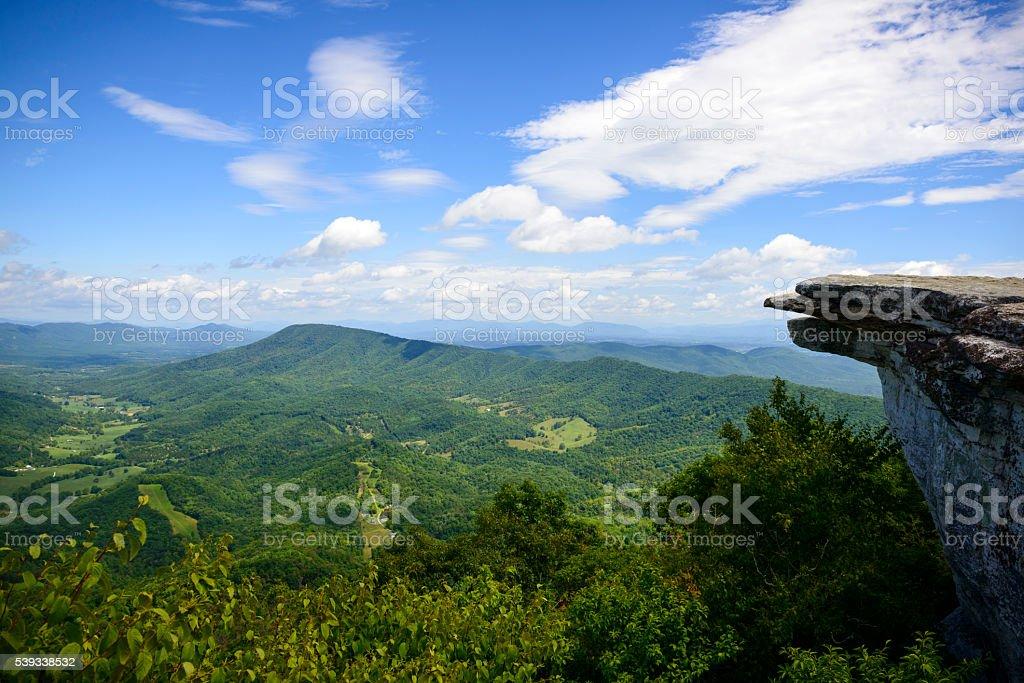 McAfee Knob on Appalachian Trail in Virginia stock photo