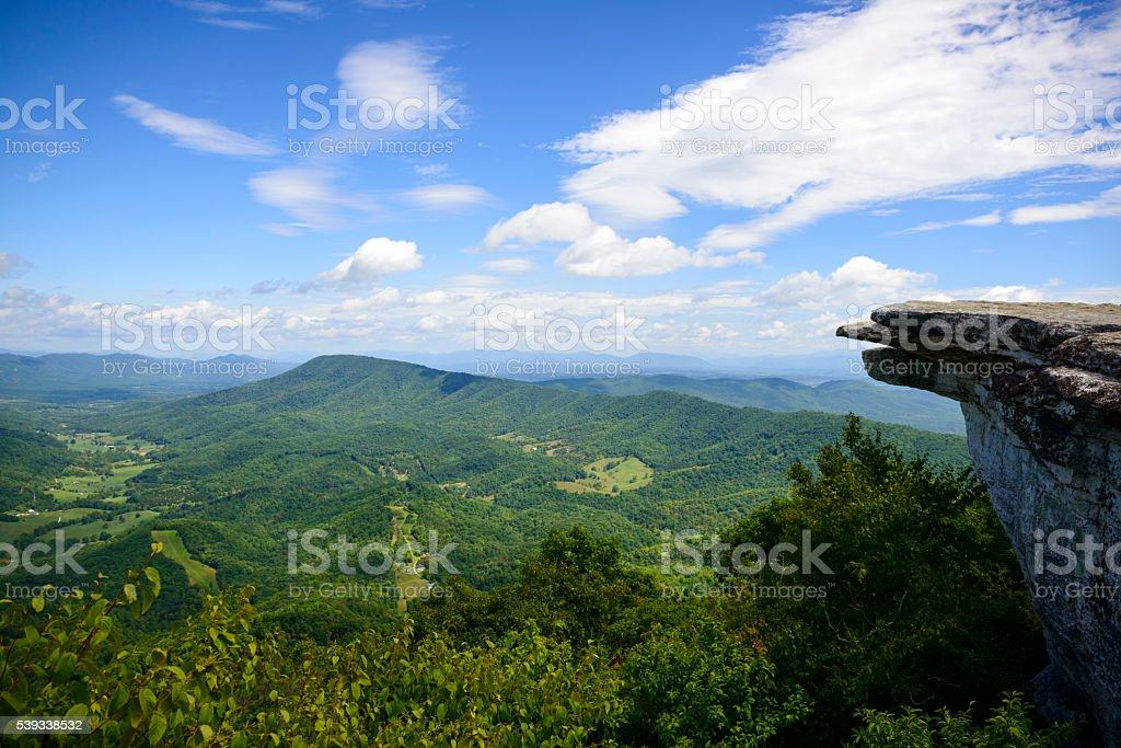 McAfee Knob on Appalachian Trail in Virginia stock photo