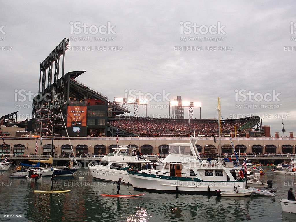 McCovey Cove filled with boats and people during game stock photo