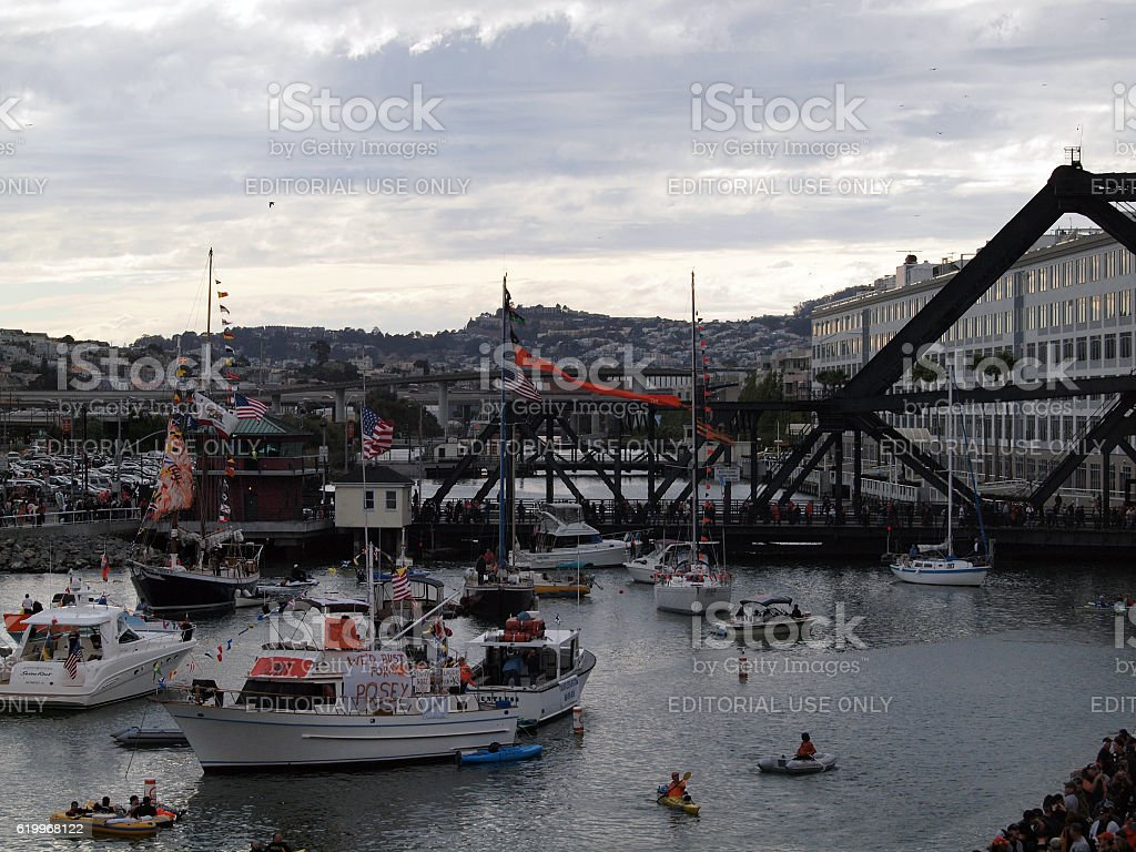 McCovey Cove filled with boats and people stock photo