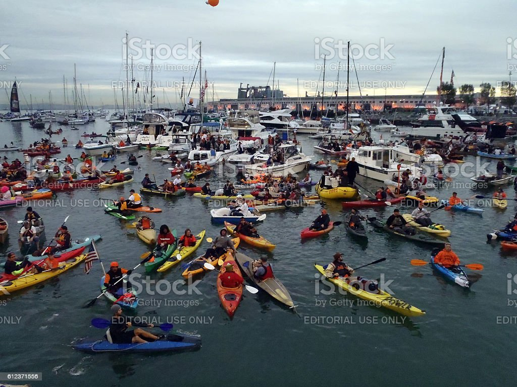 McCovey Cove filled with boats, kayaks stock photo