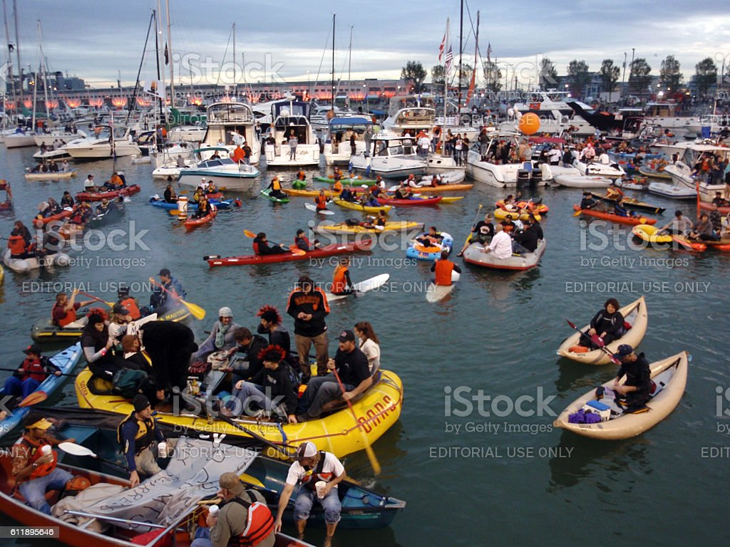 McCovey Cove filled with kayaks, boats, and people having fun stock photo