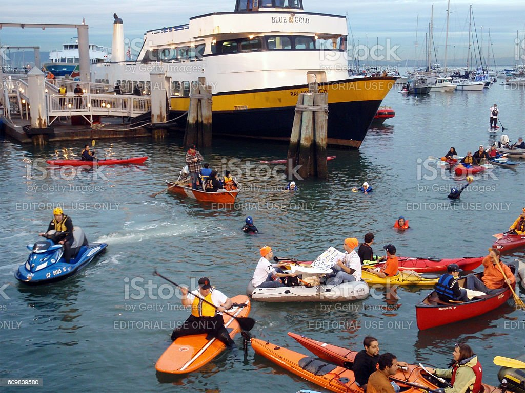 McCovey Cove filled with people on rafts and Kayaks stock photo