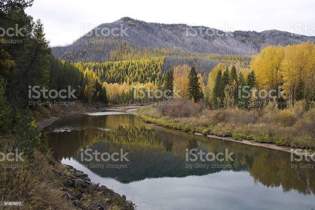 McDonald Creek at Glacier National Park stock photo