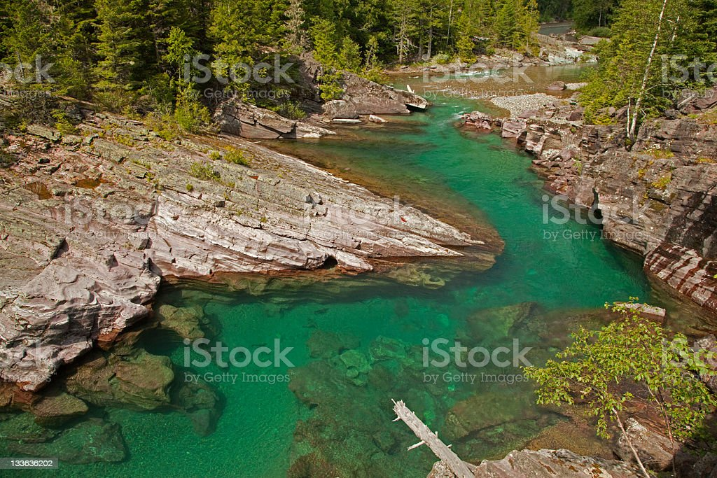 McDonald Creek Glacier National Park Montana royalty-free stock photo