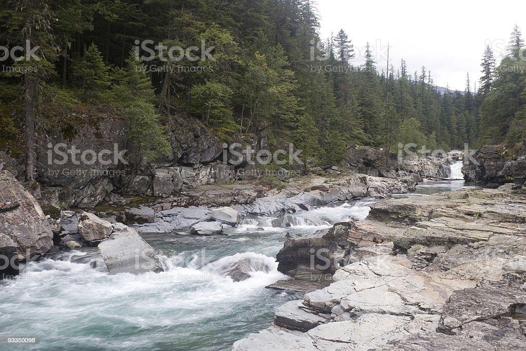 McDonald Creek in Glacier National Park stock photo
