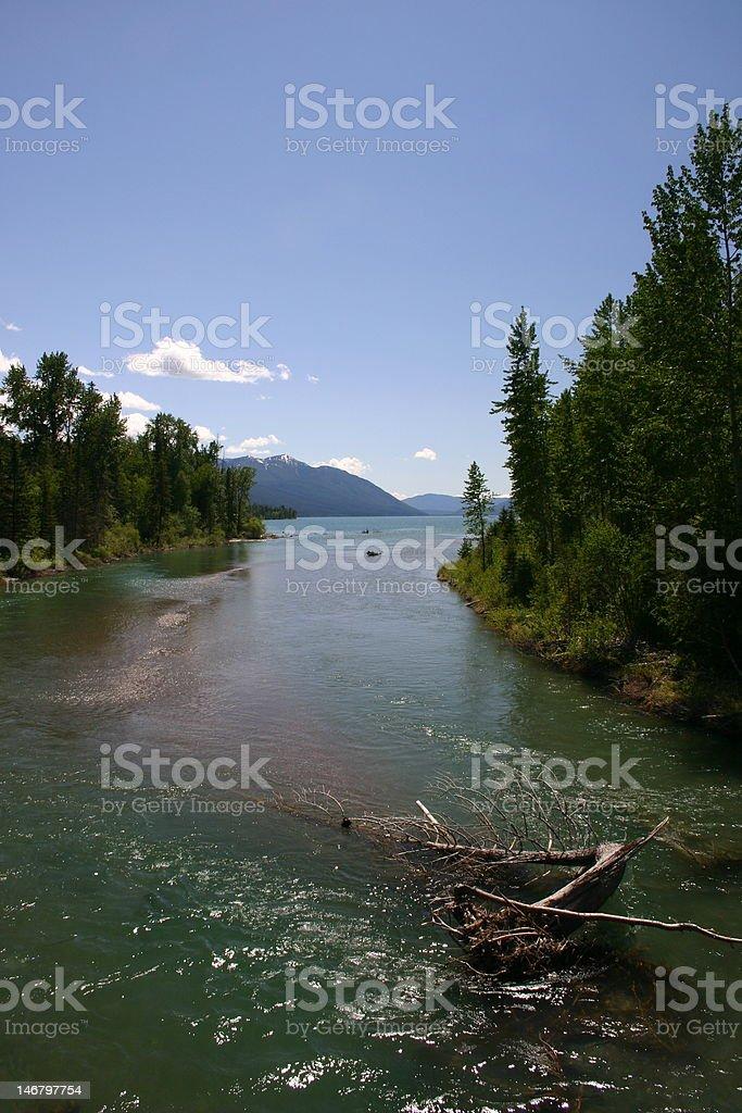 McDonald-Creek empties into Lake-McDonald stock photo