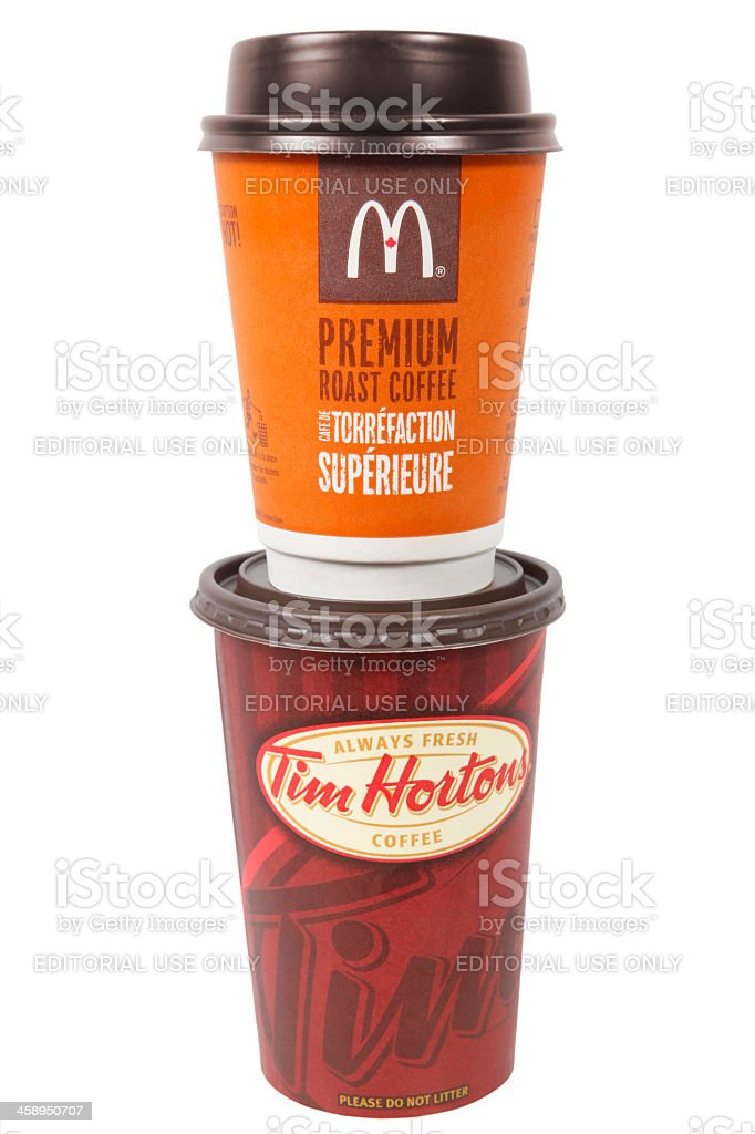 McDonalds and Tim Hortons Coffee Cups stock photo