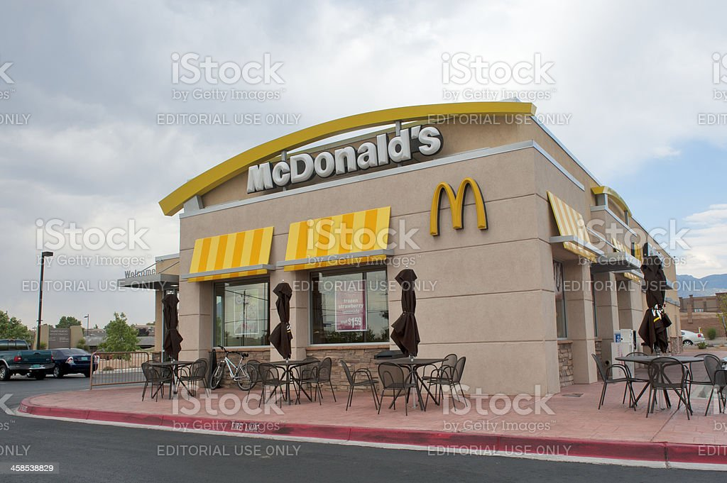 McDonald's Fast Food Restaurant at Dusk stock photo