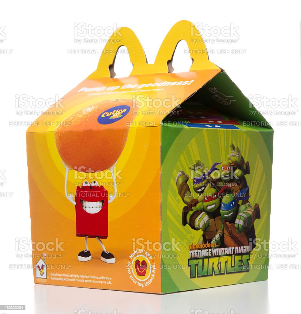 McDonalds happy meal box with ninja turtles promo stock photo