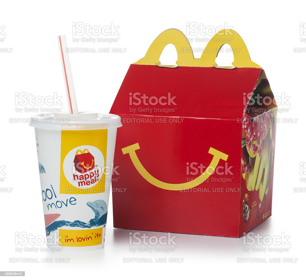 McDonalds Happy Meal on White royalty-free stock photo