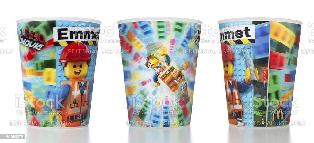 McDonalds LEGO Movie Happy Meal Toys Action Cup stock photo