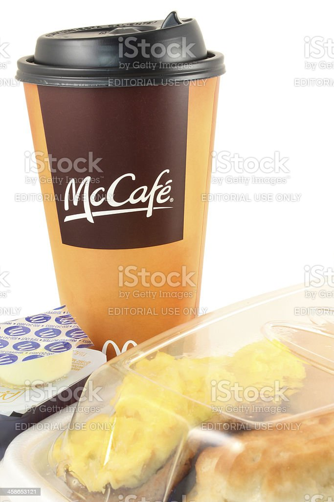 McDonald's | McCafe coffee, Big Breakfast with Pancakes, Fast Food royalty-free stock photo
