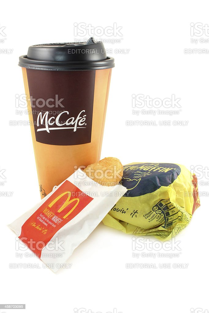 McDonald's | McCafe coffee, hash brown and an egg McMuffin stock photo