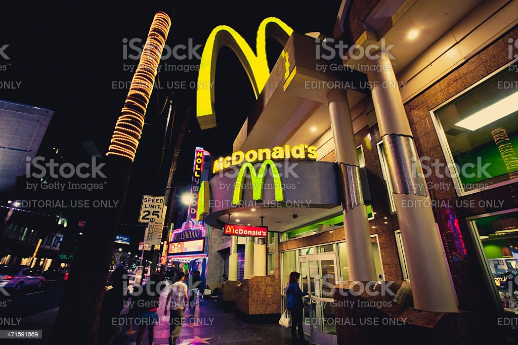 McDonalds on Hollywood Boulevard at night royalty-free stock photo