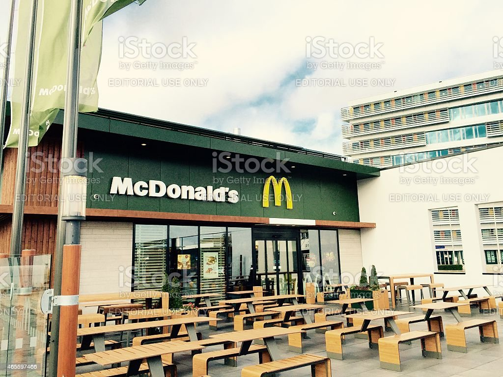 McDonalds outside seats in Enschede stock photo