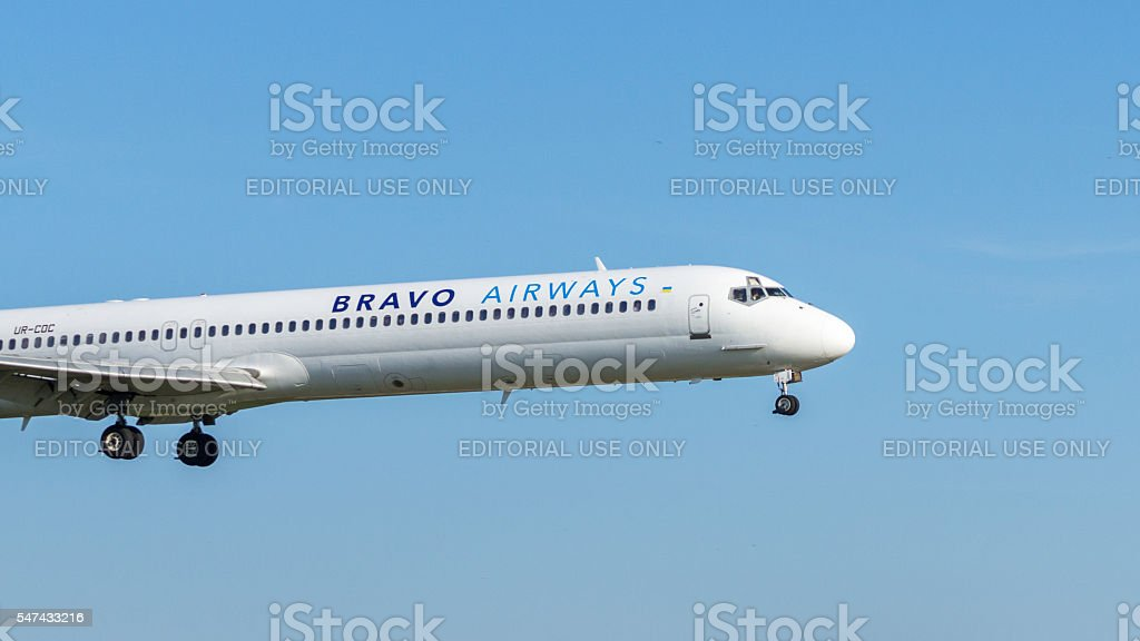 McDonnell Douglas airplane in the flight Copy Space stock photo