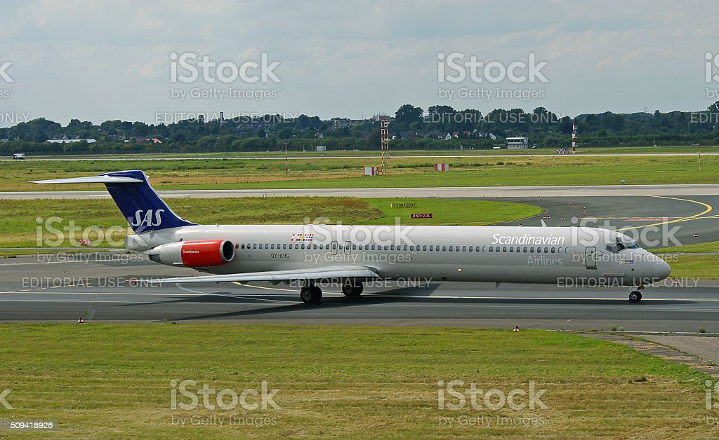 McDonnell Douglas MD-82 of SAS Scandinavian Airlines stock photo