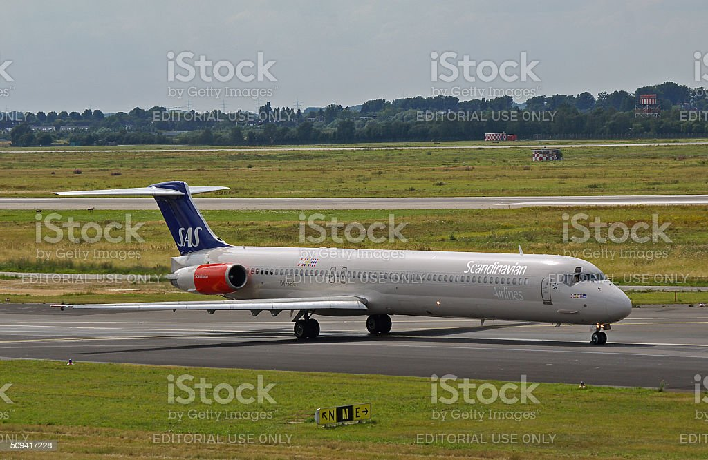 McDonnell Douglas MD-82 of Scandinavian Airlines stock photo