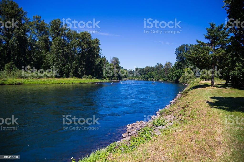 McKenzie River in Springfield Oregon stock photo