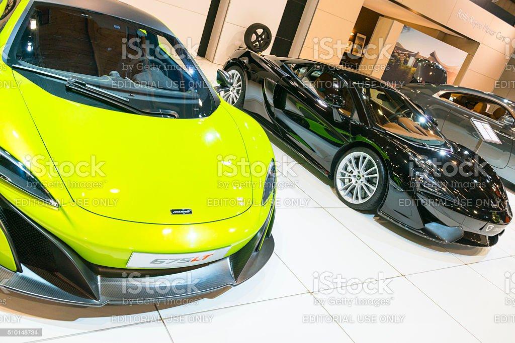 McLaren 675LT and McLaren 570S sports cars stock photo