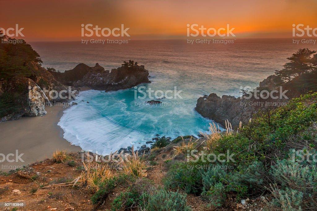 McWay Fall, Julia Pfeiffer State park, Big Sur, California, USA stock photo