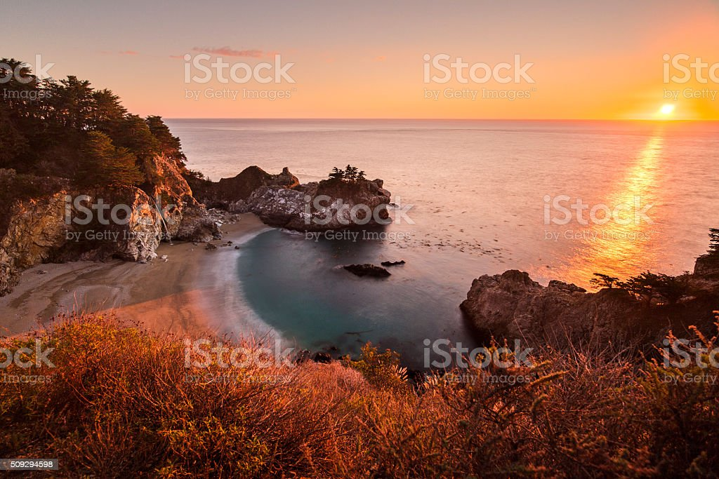 McWay Falls at Sunset stock photo