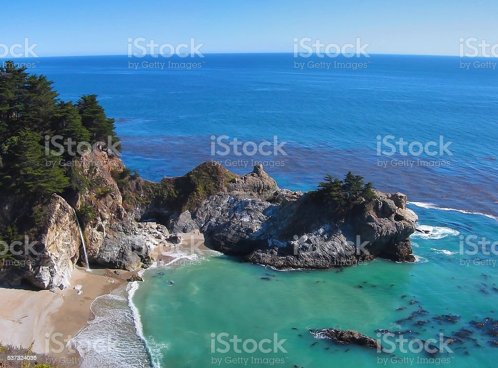 McWay Waterfall in Big Sur stock photo