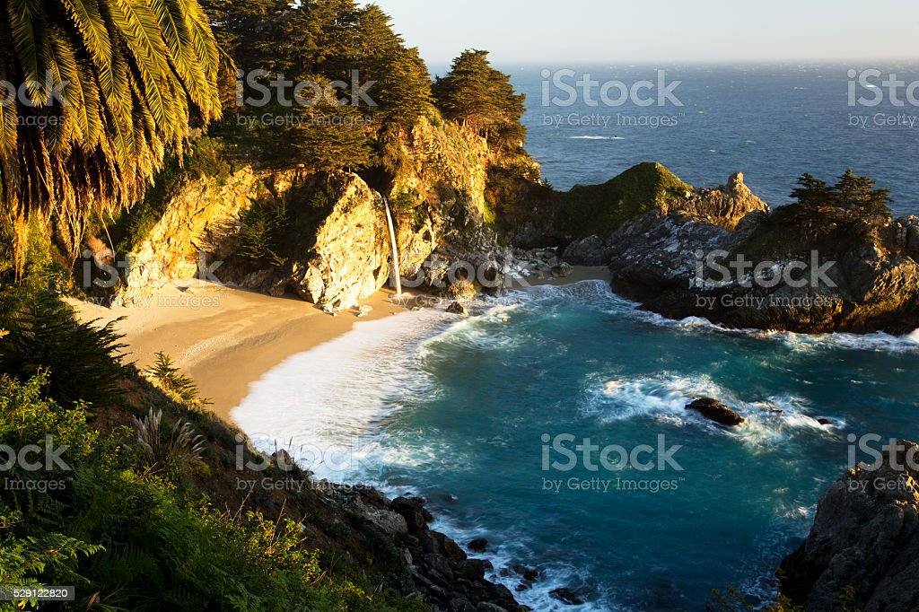 McWay Waterfalls at Beautiful Sunset, California stock photo