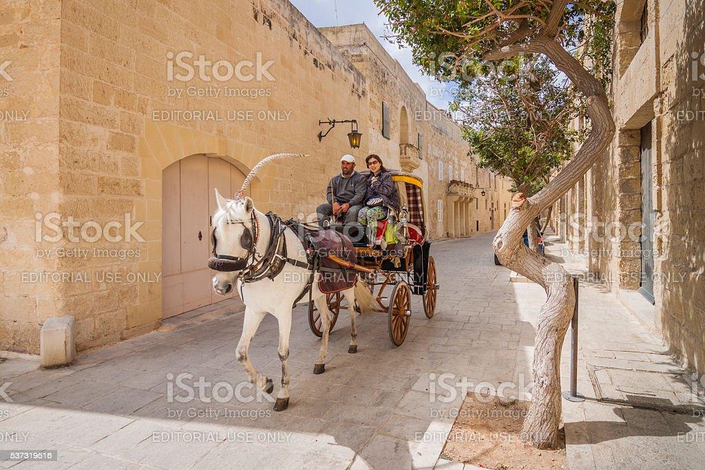 Mdina, Malta - May 04 2016: City tour of Mdina stock photo