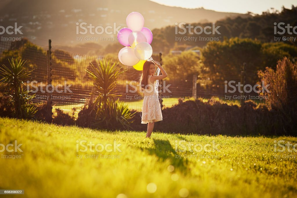 Me and my balloon bouquet stock photo