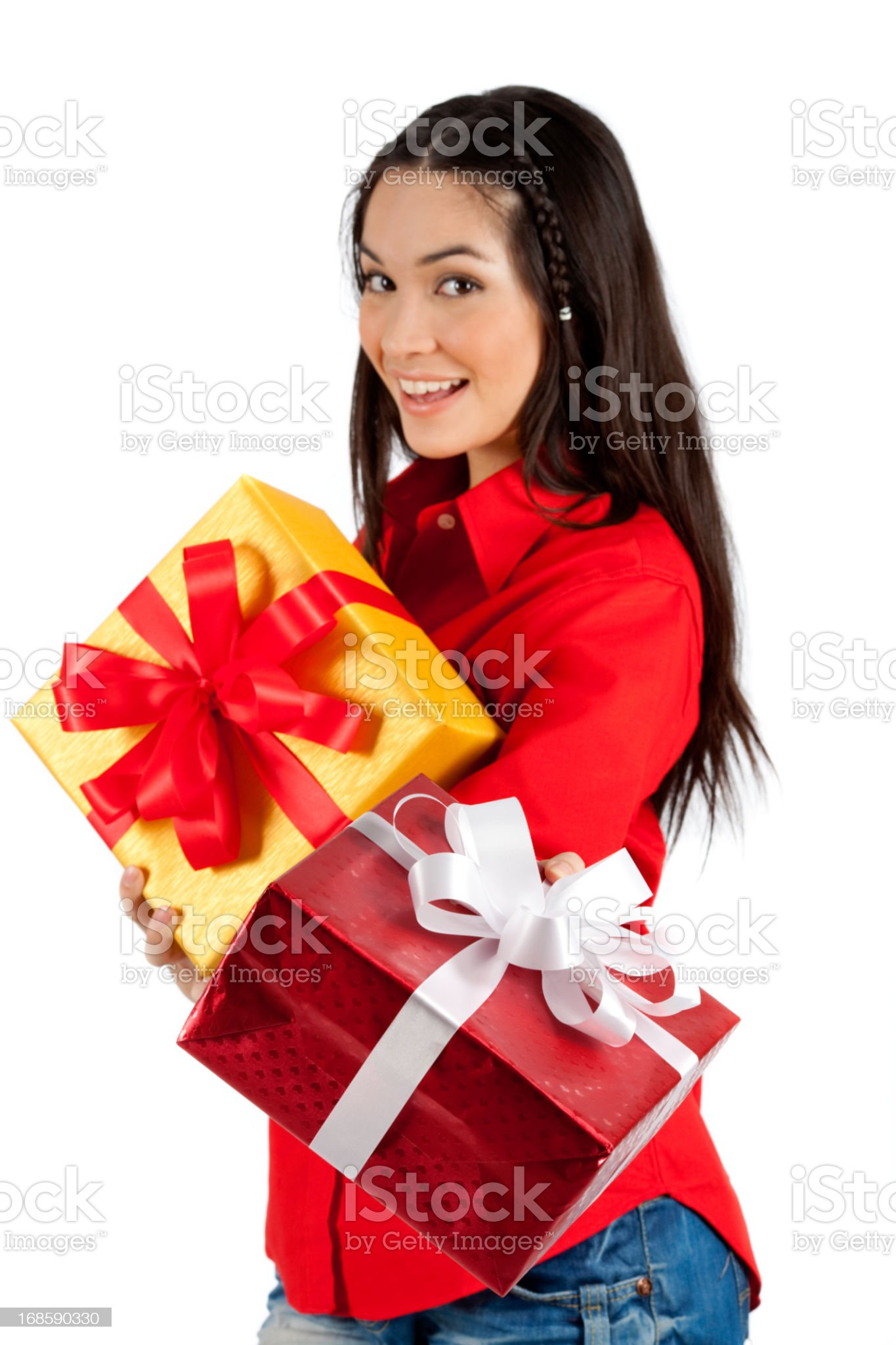 Me And My Gift Box (With Focus On The Box) royalty-free stock photo