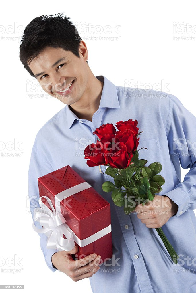 Me And My Gift Box & Roses royalty-free stock photo