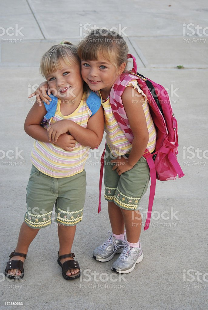 Me and My Sister Going to School royalty-free stock photo
