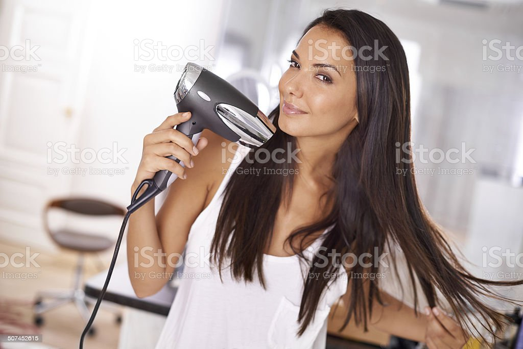 Me and my trusty hairdryer stock photo