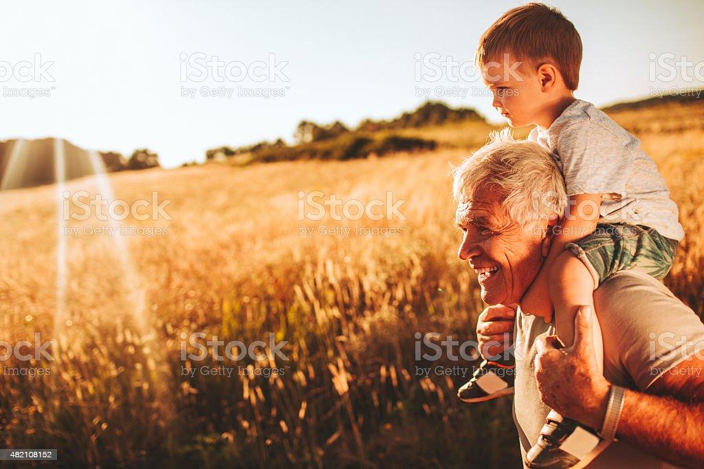 Me, grandpa and nature stock photo