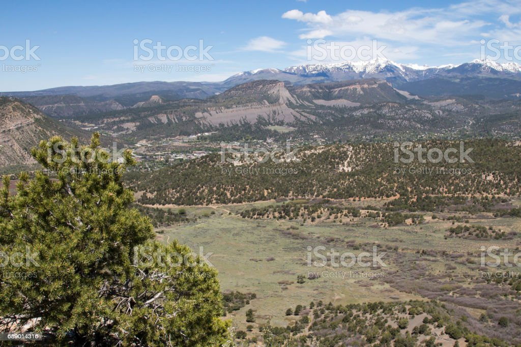 Meadow and mountain view in Horse Gulch trail system stock photo