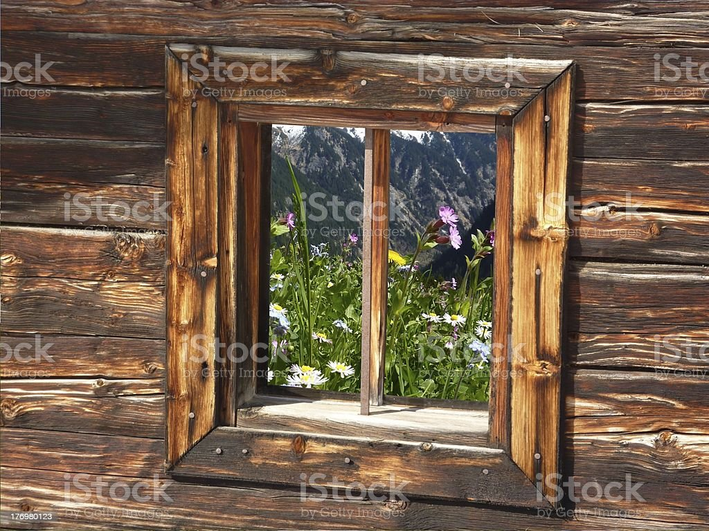 Meadow flowers in the windows of a wooden hut royalty-free stock photo