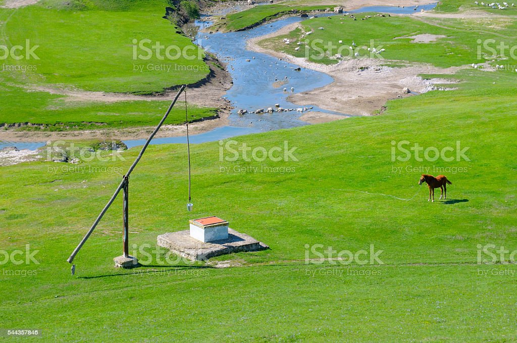 meadow, river and well Crane stock photo