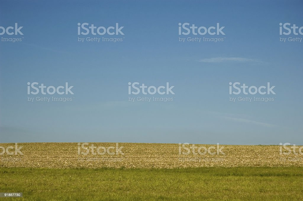 Meadow terra and sky stock photo