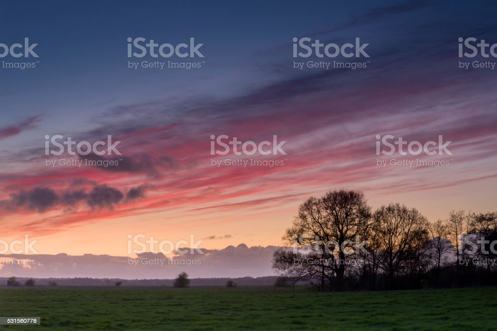 Meadow under romantic sky stock photo