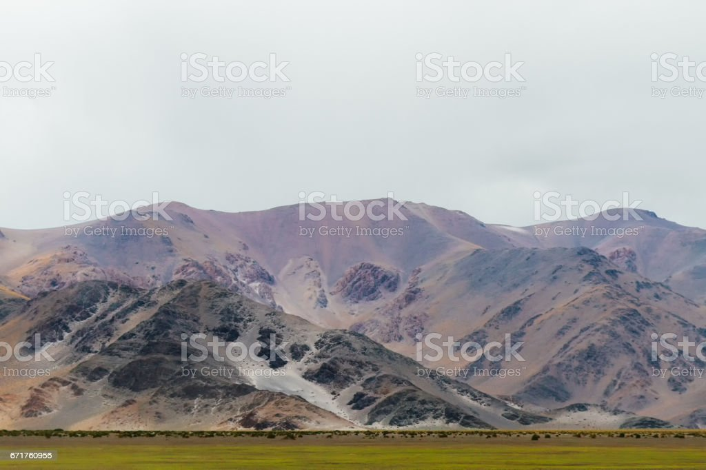 Meadow with green lawn and mountain in the Andes, Argentina stock photo
