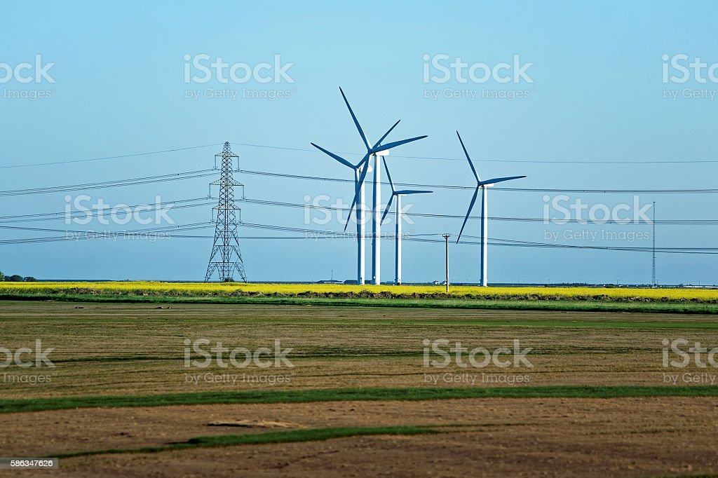Meadow with Wind turbines generating electricity and electric power stock photo