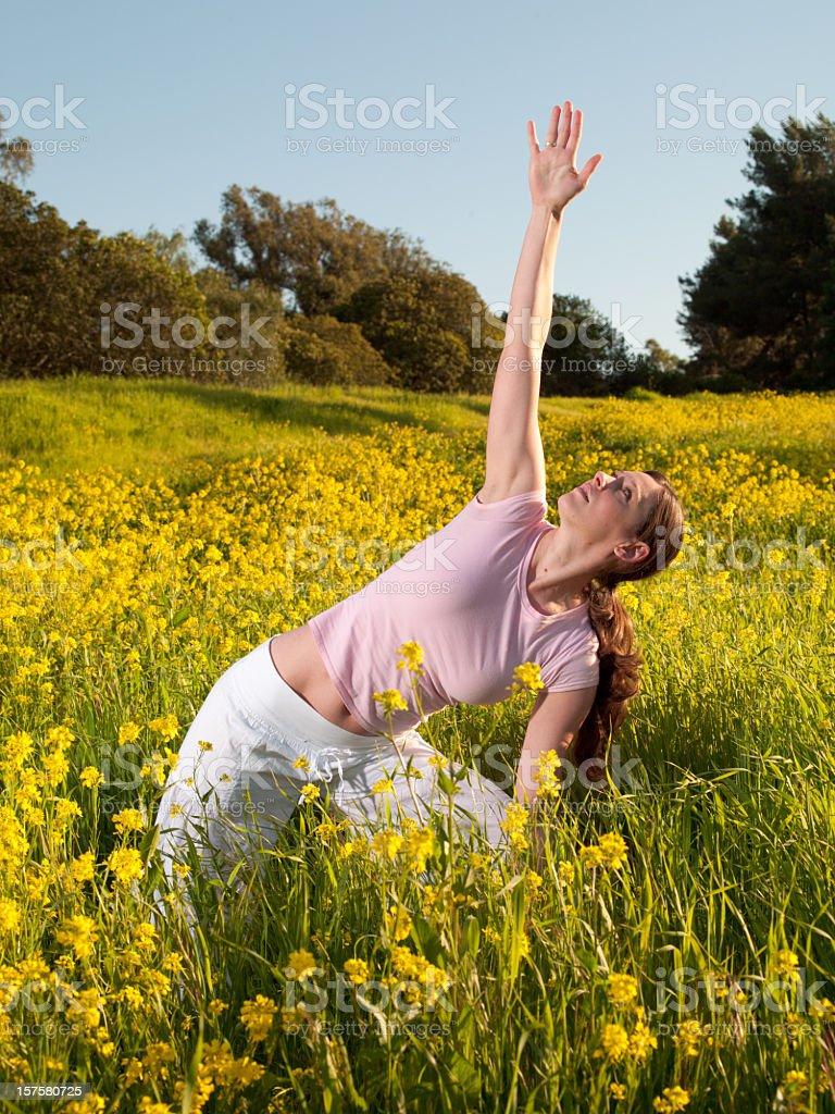 Meadow Yoga royalty-free stock photo