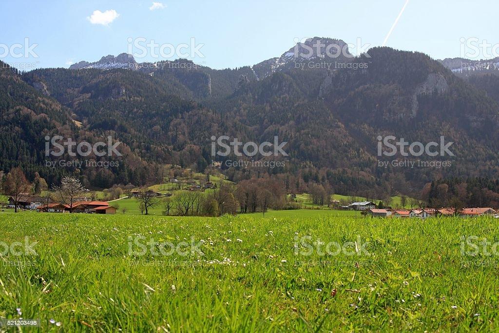 Meadows and mountains around Aschau, Bavaria, Germany stock photo