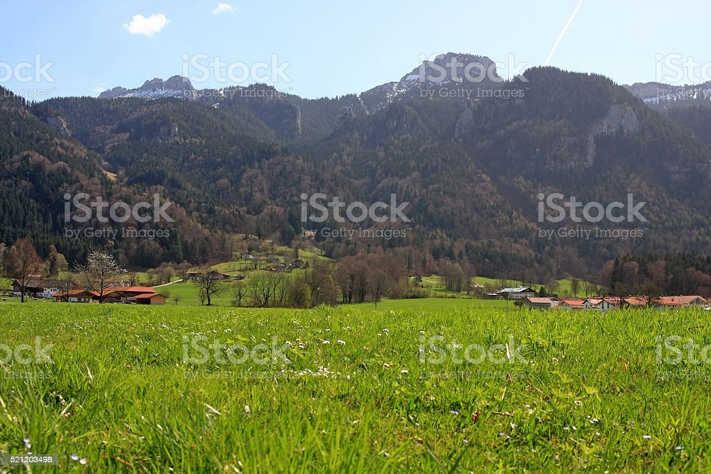 Meadows and mountains around Aschau, Bavaria, Germany stock photo
