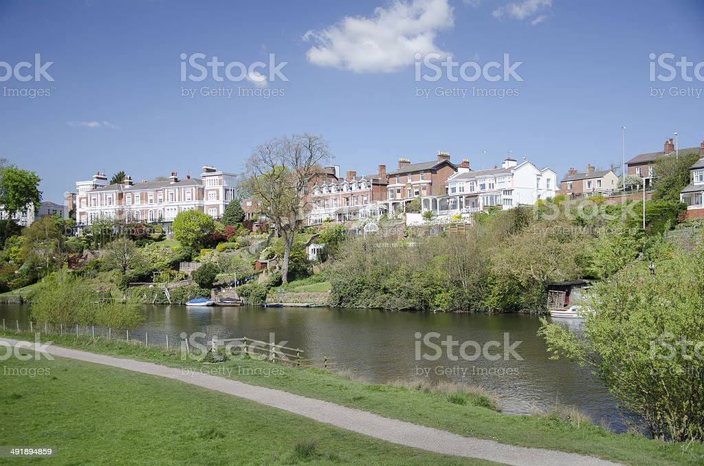 Meadows and River Dee with Victorian Houses in Chester royalty-free stock photo