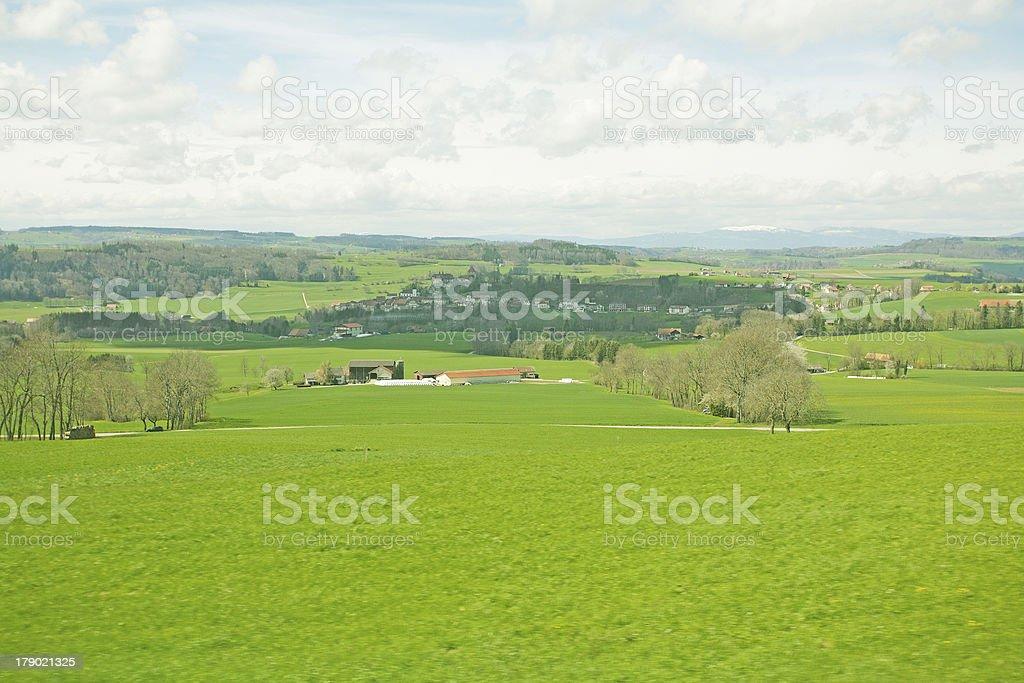 meadows under Jungfrau royalty-free stock photo