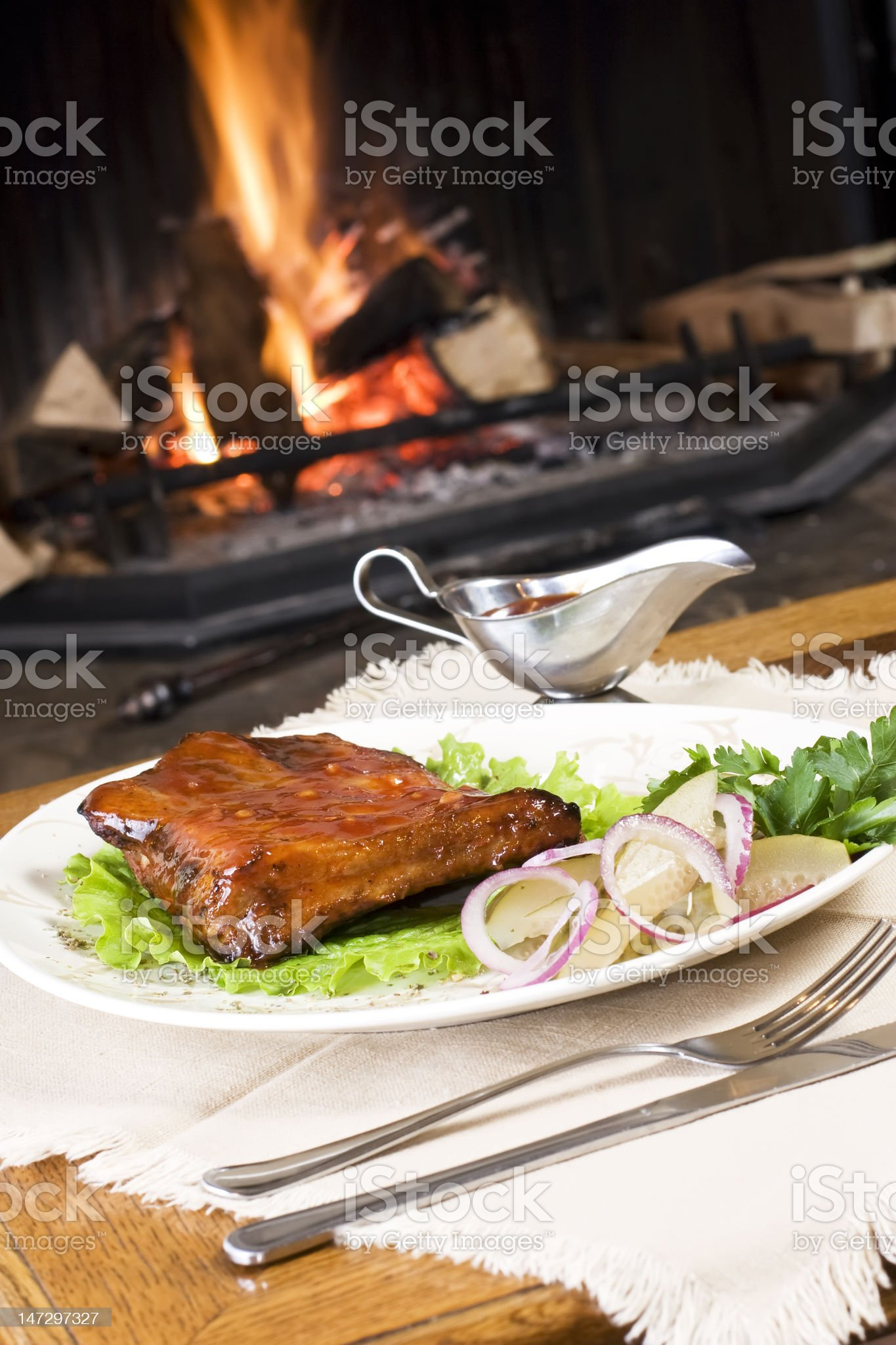 Meal by fireplace royalty-free stock photo