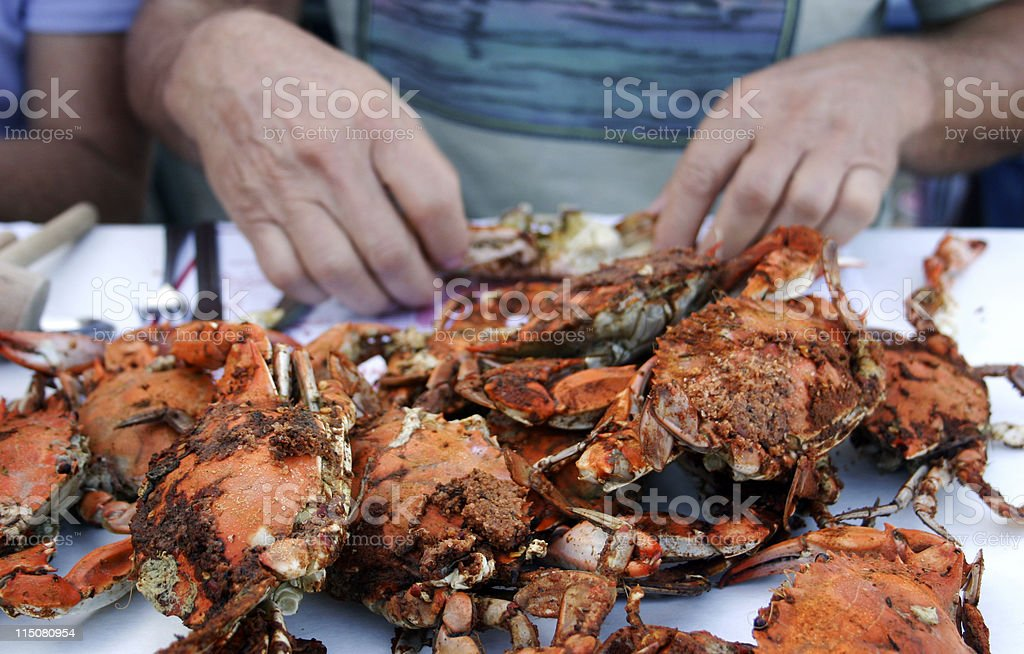 Meal of fresh steamed crabs stock photo